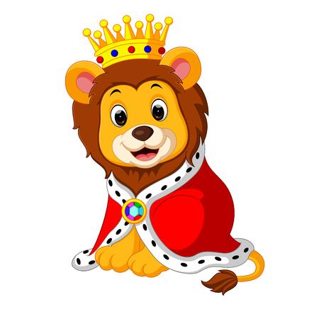 lion de bande dessinée en roi outfit Banque d'images
