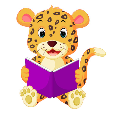 leopard reading book Stockfoto