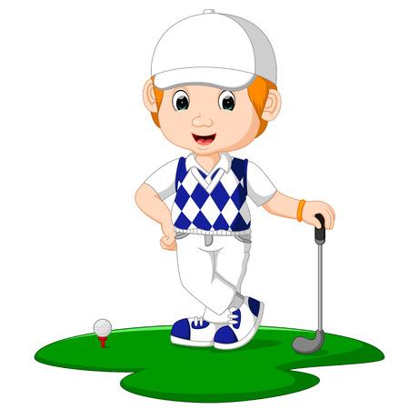 Golfer Man Cartoon Stock Photo