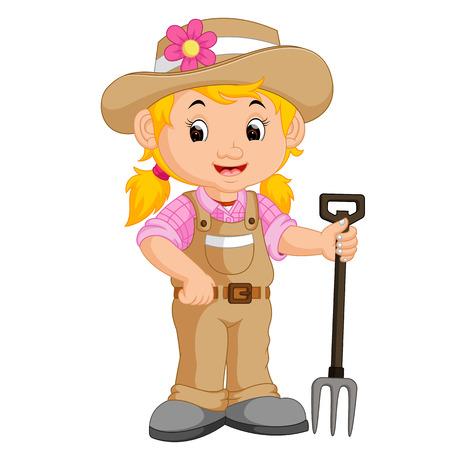 girl farmer cartoon 写真素材