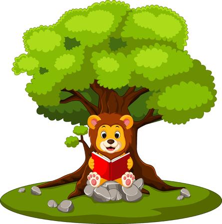 bookworm: illustration of cartoon lion reading book