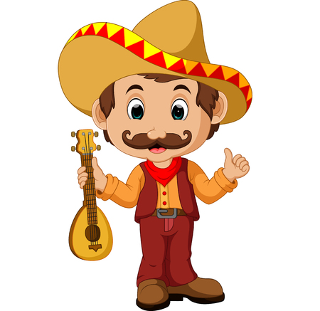 Mexican Cartoon Character with guitar Stock Photo