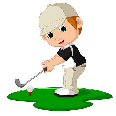 Golfer Man Cartoon 스톡 콘텐츠