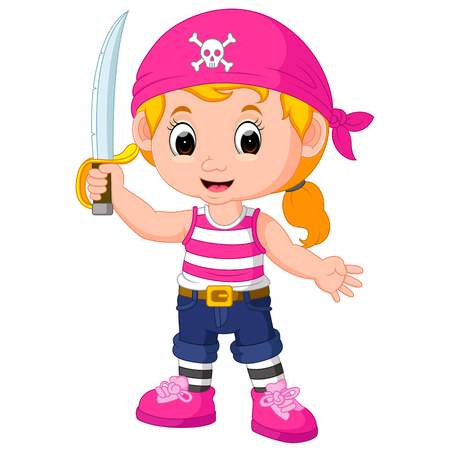 cute girl: Cute girl pirate cartoon.