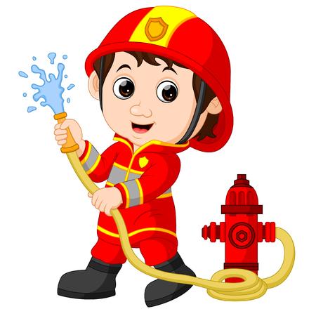 Historieta del bombero. Ilustración de vector