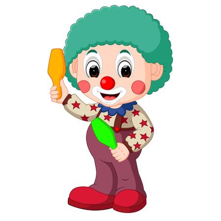 stage makeup: Cute clown cartoon. Illustration