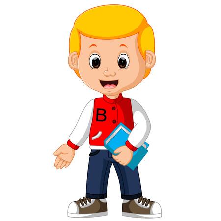 Cute boy carrying book cartoon. Illustration