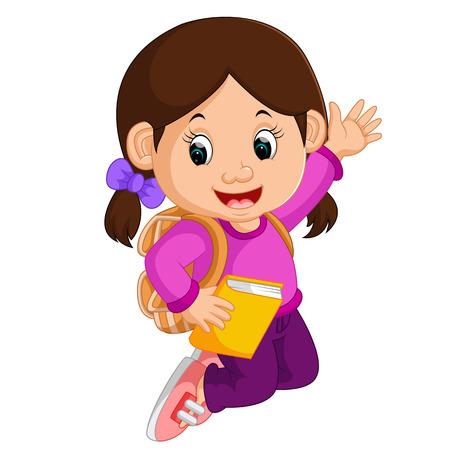 Cute girl go to school cartoon Illustration
