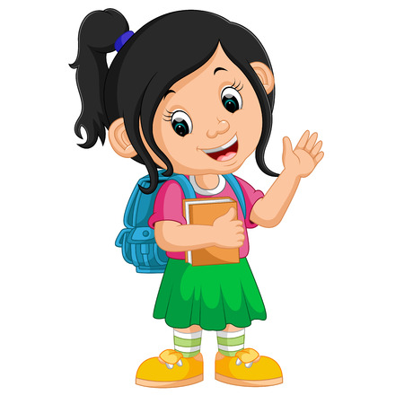 go back: Cute girl go to school with blue backpack cartoon.