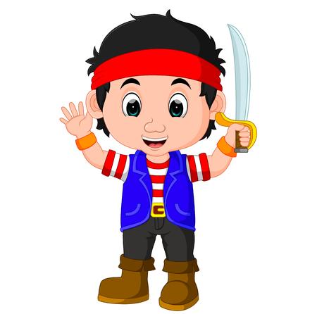 kid boy pirate cartoon Illustration