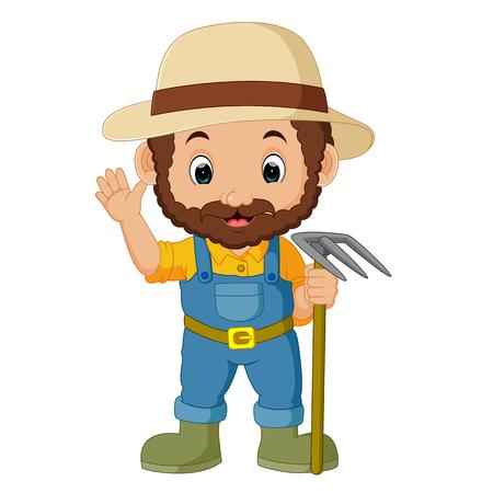 funny farmer cartoon Illustration