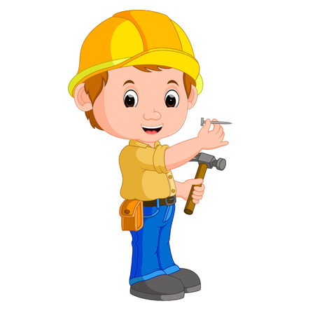 Construction worker hammering a nail