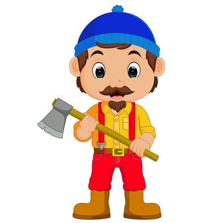 logging: Cartoon lumberjack holding an axe