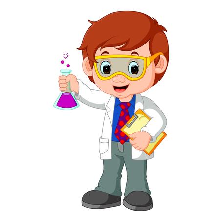 investigando: Científico o profesor sosteniendo matraz Vectores