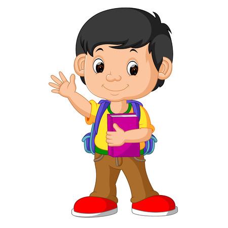 Cute boy go to school Ilustrace