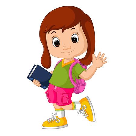 Cute girl go to school cartoon  イラスト・ベクター素材