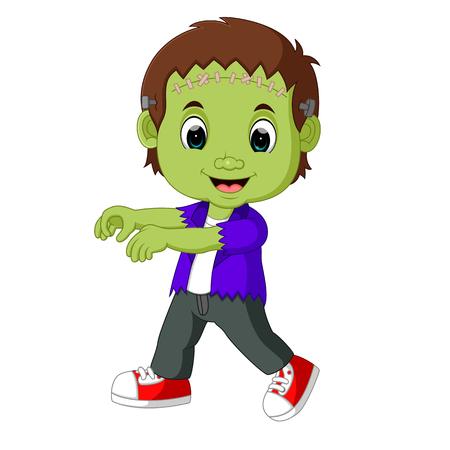 Halloween Frankenstein Mascot Illustration