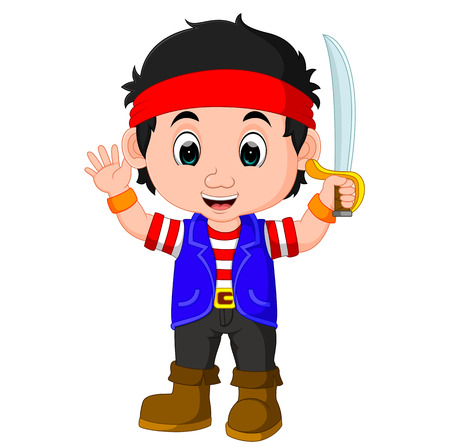 kid boy pirate cartoon Stock Photo
