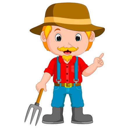 funny farmer cartoon Stock Photo