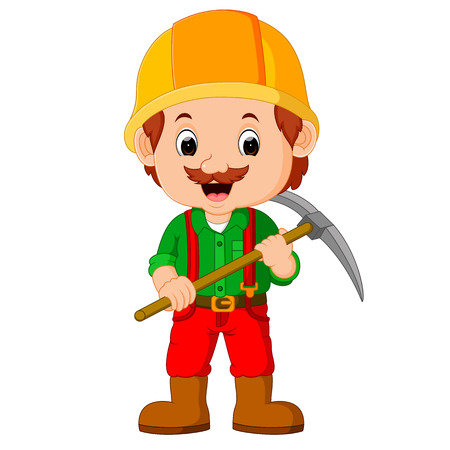 the miners: miners posing with a pickaxe Stock Photo