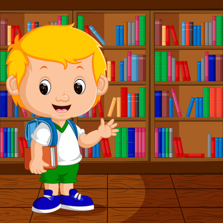 schooler: Kids in a Library Illustration