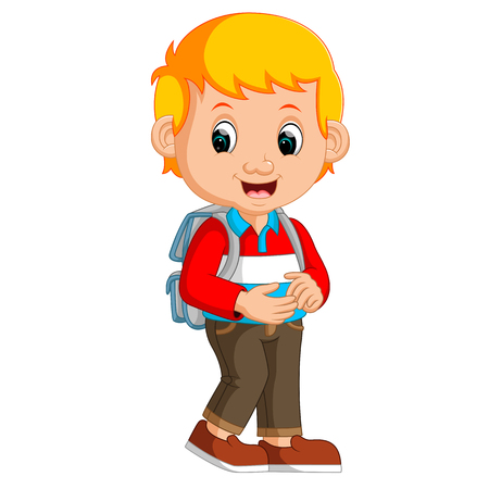Cute boy with backpack cartoon Illustration