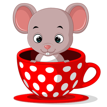 cute cartoon mouse in a cup