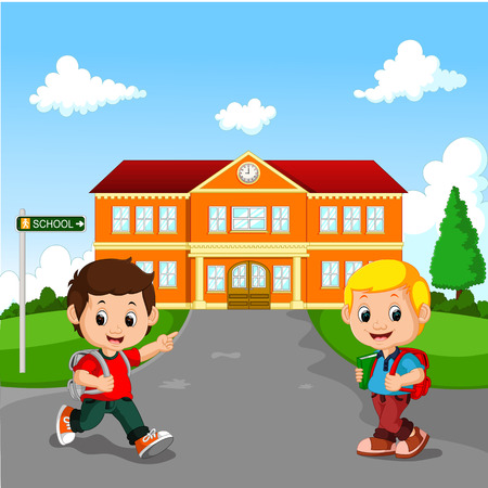 leaving: Little boy going to school Illustration