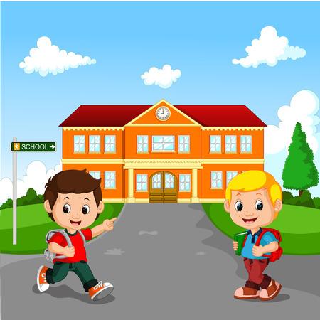 Niño pequeño va a la escuela
