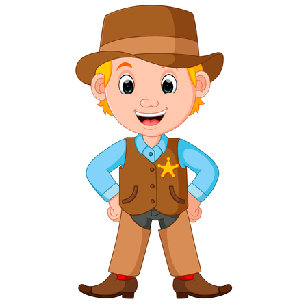 Cartoon cowboy met een pistool Stockfoto - 75415550