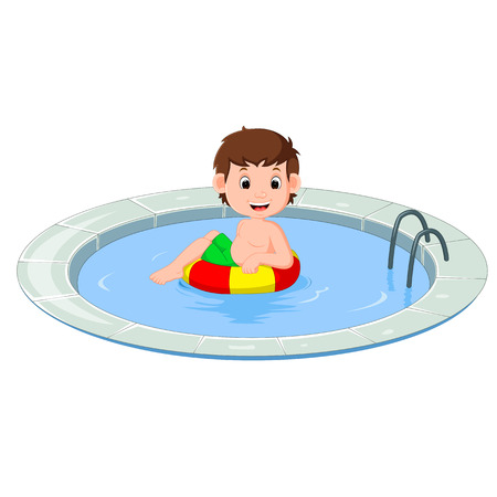 cute little kids swimming with inflatable circle cartoon Stock Photo