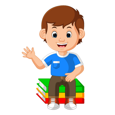 kids boy sitting on big book cartoon