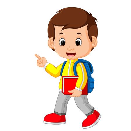 학교에 귀여운 소년 이동