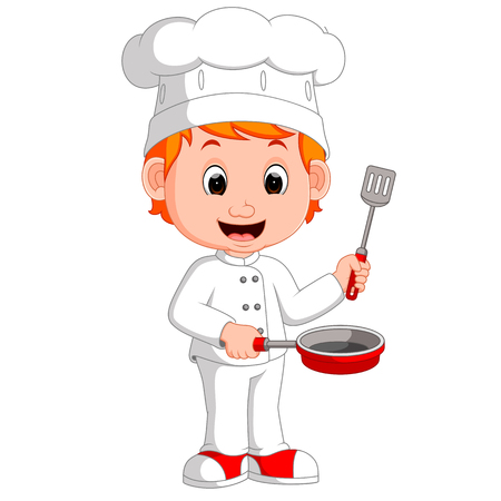 serving tray: Cartoon funny chef holding frying pan