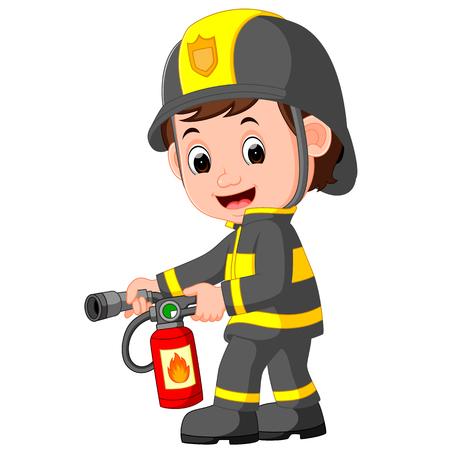 Firefighter cartoon Ilustrace