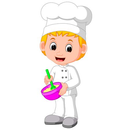 귀여운 요리사가 빵을 만든다.