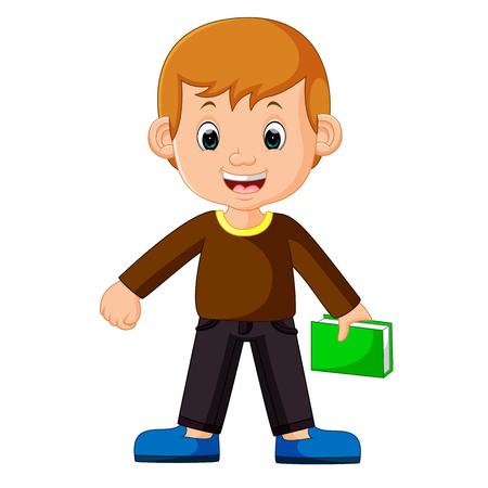 Boy carrying book cartoon