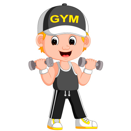 Cartoon illustration of a man exercising with dumbbells