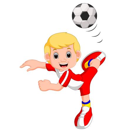 bounce: Boy cartoon playing football Illustration