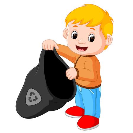 Boy Handling a Plastic Garbage Bag