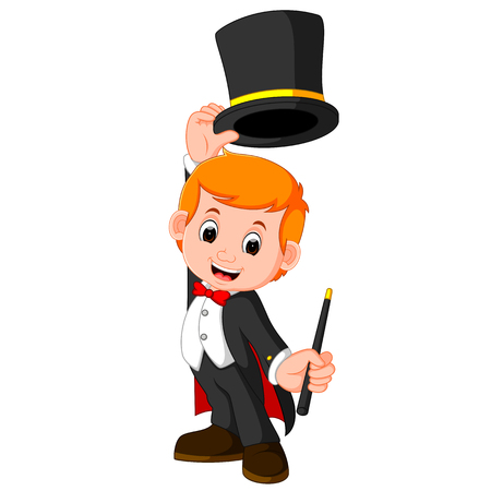 Boy Magician cartoon Vectores