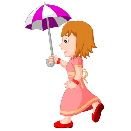 Young girl with an umbrella Illustration
