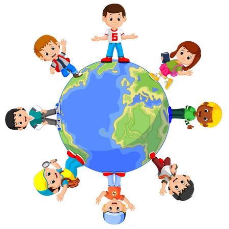 子どもたちが世界に立って