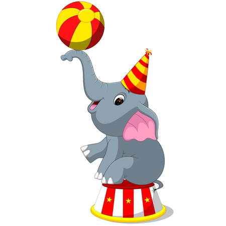 Cute circus elephant with a striped ball stands on a podium. Illustration