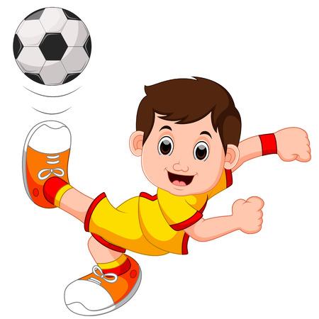 Boy cartoon playing football Stock Photo