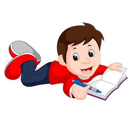 storybook: happy boy reading book alone