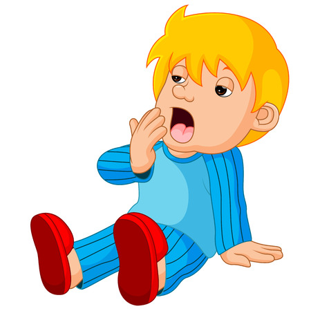 cute boy cartoon sleepy