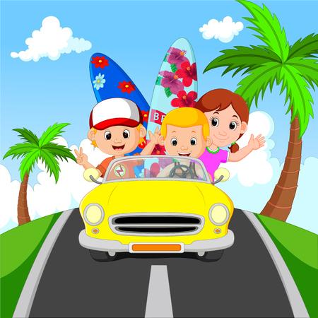 excursion: Cartoon family vacation Stock Photo