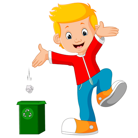 Boy character throws garbage in trash