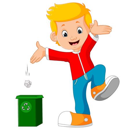 Jongenskarakter gooit afval in vuilnisbak Stock Illustratie